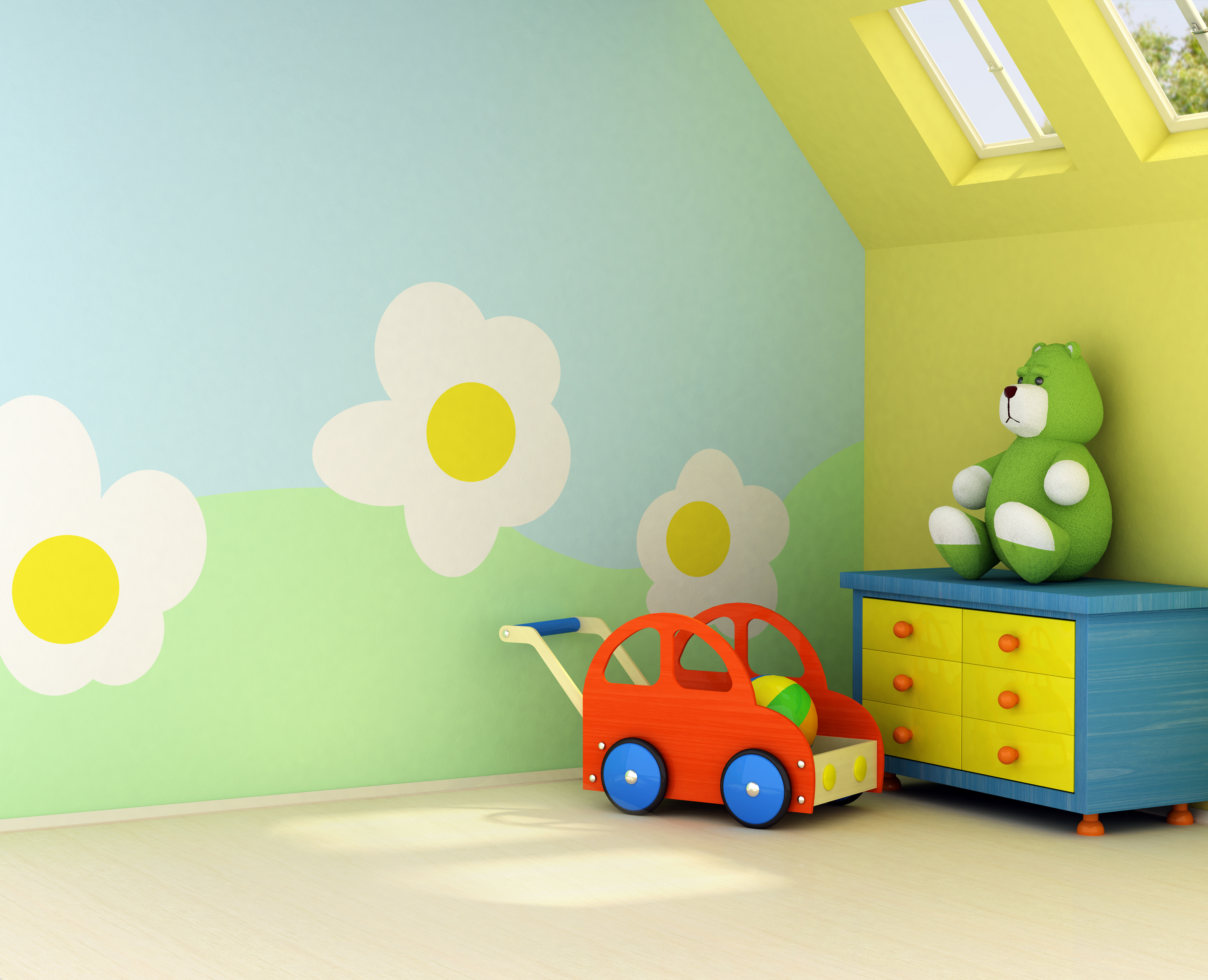 E er la chambre de votre enfant avec des stickers muraux